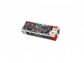 Puzzle panoramatické Marvelův svět/Join the Marvel Universe 1000 dílků 97x34cm v krabici 40x13,5x7cm