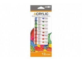 Barvy akrylové 12ml 12ks v krabičce 11x26cm