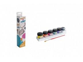 Akrylové barvy na kameny 6 ks se štětce v krabičce 4,5x23x4cm