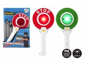 Policejní plácačka plast 23cm na baterie se světlem v krabičce 17x25x4cm