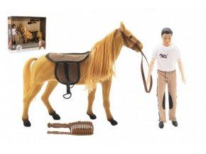 Kůň fliška česací + panáček kloubový 30cm plast s doplňky skladem