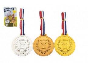 Medaile se šňůrkou 3ks plast průměr 6cm na kartě skladem