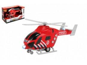 Vrtulník hasiči 20cm plast na setrvačník na baterie se světlem se zvukem skladem