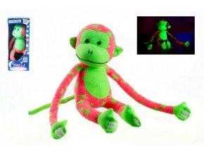 Opice svítící ve tmě plyš 45x14cm růžová/zelená skladem