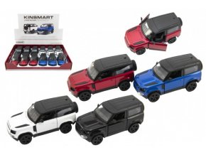 Auto Kinsmart Land Rover Defender 90 kov/plast  na zpětné natažení 4 barvy (1 ks) skladem