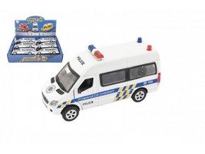 Auto policie kov/plast 15cm na baterie se světlem se zvukem na zpětné natažení (1 ks) skladem