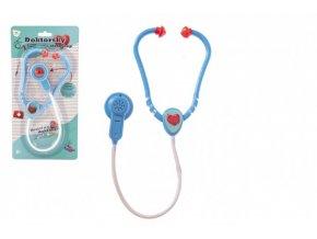 Doktor/lékař stetoskop plast 53cm na baterie se světlem se zvukem na kartě 17x34x3cm