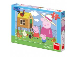 dino peppa pig prasatko pepina slepicky puzzle 24 dilku