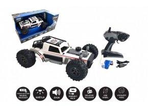 Auto RC buggy vypouštějící páru plast 38cm bílé 2,4GHz na bat. + dobíjecí pack v krabici 55x26x30cm