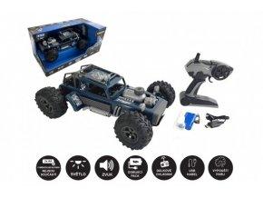 Auto RC buggy vypouštějící páru plast 38cm modré 2,4GHz na bat. + dobíjecí pack v krabici 55x26x30cm