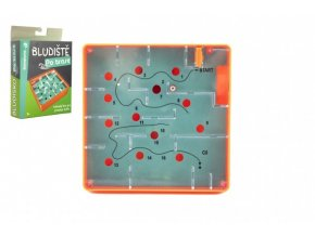 Bludiště/hlavolam Po trase plast 12x12cm balanční hra v krabičce 13x18x4cm