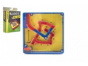 Bludiště/hlavolam Přes most plast 12x12cm balanční hra v krabičce 13x18x4cm