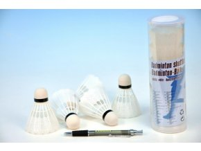 Míčky/Košíčky na badminton bílé plast 5ks v tubě 7x19x7cm