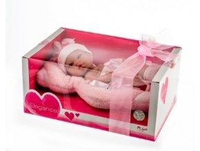 Panenka/miminko Arias vonící 33cm růžové pevné tělo v krabici
