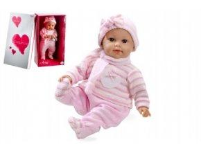 Panenka/miminko Arias vonící 45cm růžové šaty měkké tělo plačící na baterie v krabici