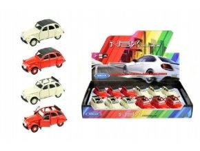 Auto Welly Citroën 2CV kov 11cm asst 4 druhy volný chod 12ks v boxu