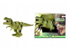 Dinosaurus chodící tyranosaurus plast 22cm na baterie asst 2 barvy v krabici