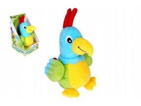 Papoušek mluvící plyš 24cm na baterie se zvukem v krabici 15x25x16cm