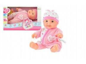 Miminko panenka růžové plast 22cm pevné tělo v krabici 24x15x10cm