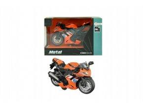 Motorka silniční oranžová kov 12cm na zpětné natažení v krabičce 15x10x9cm