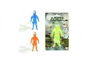Parašutista figurka s padákem létající 10cm asst 3 barvy na kartě