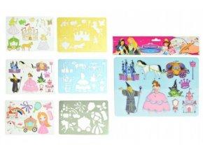 Kreslící šablony princezny plast 27x19cm asst 3 druhy v sáčku