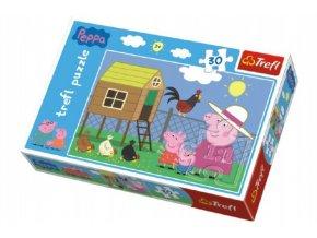 Puzzle Prasátko Peppa Návštěva Kurníku 27x20cm 30 dílků v krabičce 21x14x4cm