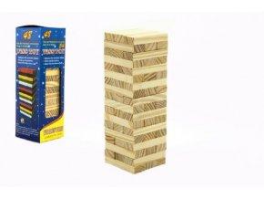 Hra Jenga věž přírodní dřevo 48ks hlavolam v krabičce 7x23x7cm