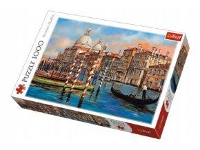 Puzzle Benátky - Kanál Grande 1000 dílků v krabici 40x27x6cm