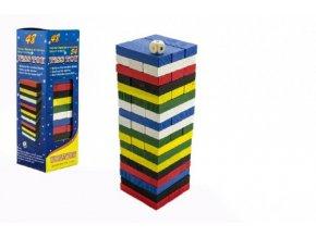 Hra Jenga věž dřevo 48ks barevných dílků hlavolam v krabičce 7x23x7cm