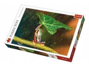 Puzzle Žába s listem 500 dílků 48x34cm v krabici 40x27x4,5cm
