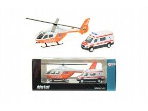 Vrtulník/helikoptéra + auto ambulance kov v krabičce 22x9x10cm