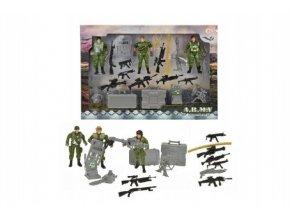 Sada vojenská vojáci s doplňky plast v krabici 35x25x4cm