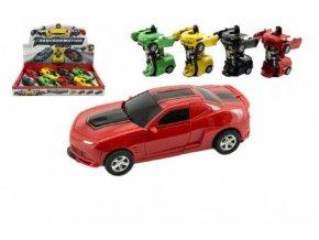 Transformer auto/robot plast 12cm asst 4 barvy na setrvačník 8ks v boxu