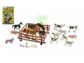 Zvířátka domácí farma 8cm s doplňky 20ks na kartě