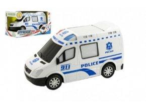 Auto policie plast 20cm narážecí na baterie se zvukem se světlem v krabici 22x12x11cm