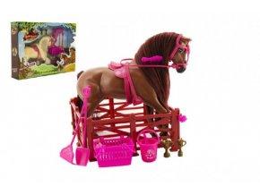 Kůň česací s doplňky a ohradou plast asst 2 barvy v krabici 45x33x9cm