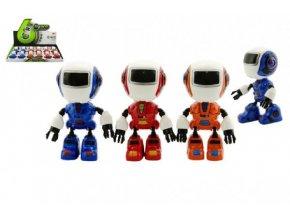 Robot hýbající se kov/plast 11cm na baterie se světlem a zvukem asst 3 barvy (1 ks)