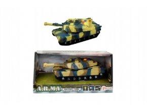 Tank plast 17cm na setrvačník na baterie se světlem se zvukem v krabici 21x11x9cm