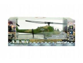 Vrtulník/Helikoptéra vojenská plast 18cm na baterie se světlem se zvukem asst 2 barvy v krabici