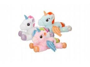 Kůň s křídly jednorožec plyš ležící 30cm na baterie svítící 8 barev asst 3 barvy