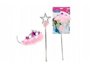Sada korunka + hůlka pro princezny plast na kartě