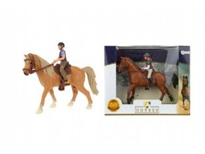Kůň + žokej plast 13cm asst 2 barvy v krabičce 19x15x5cm