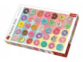 Puzzle Donuts koblihy 500 dílků 48x34cm v krabici 40x27x4,5cm