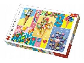 Puzzle Oblíbené sladkosti 500 dílků 48x34cm v krabici 40x27x4,5cm
