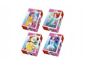 Minipuzzle Princess/Disney 54dílků asst 4 druhy v krabičce 6x9x4cm (1 ks)