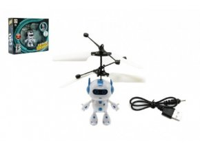 Vrtulníkový robot létající plast 13x11cm s USB kabelem na nabíjení svítící v krabičce
