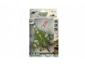 Letadlo stíhačka kov/plast 18cm na baterie se zvukem se světlem v krabičce 13x22x5cm