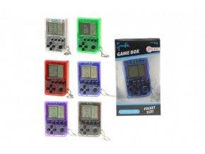 Přívěšek digitální hra Brick Game Tetris plast 5cm na baterie v krabičce 6x11x2cm