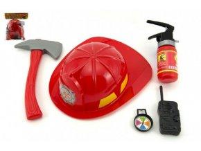 Hasičská sada helma/přilba + hasičák stříkací vodu plast 5ks v sáčku